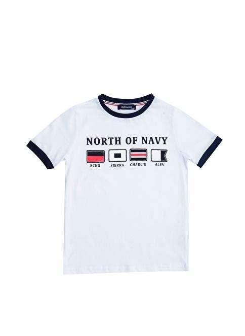 North Of Navy Tişört Beyaz